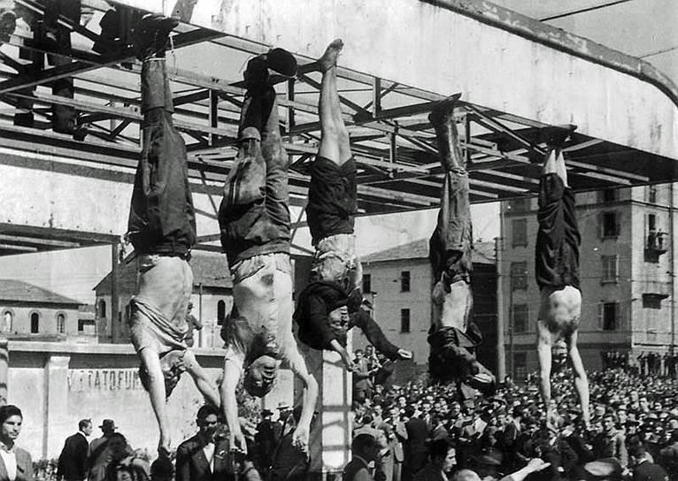 Весной 1945 года Муссолини доставили в селение Донго, где на следующий день по приказу руководства Движения сопротивления в Северной Италии партизан «полковник Валерио» (Вальтер Аудизио) расстрелял их из автомата. Затем обезображенные тела убитых доставили в Милан, где за ноги подвесили на перекрытии бензоколонки на площади Лорето