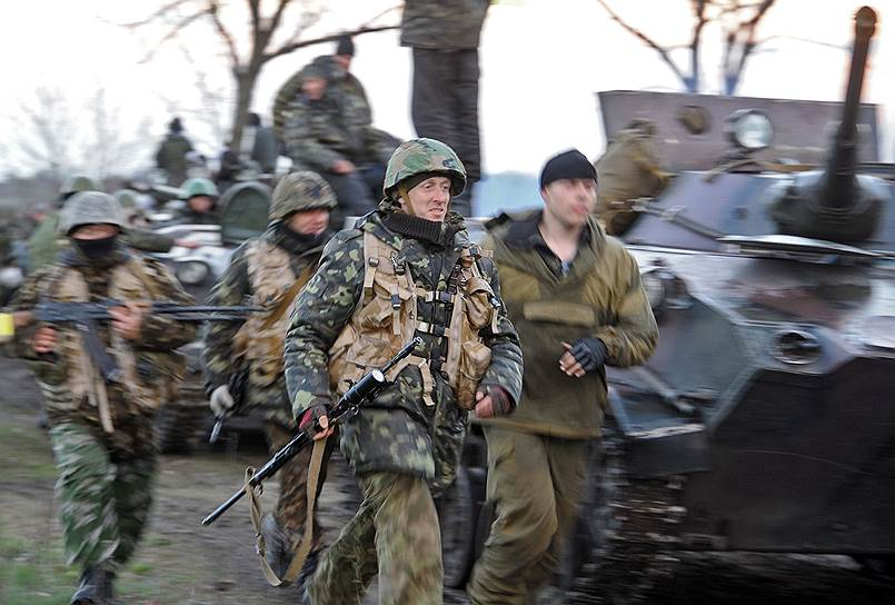 14 апреля. Военные подразделения Украины у въезда в город Славянск