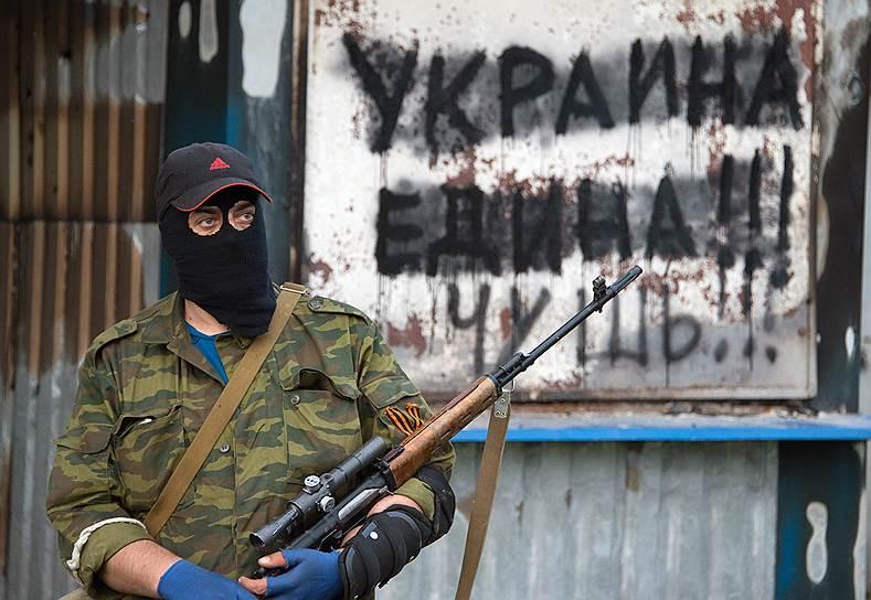 19 мая. Народные ополченцы в поселке Семеновка под Славянском