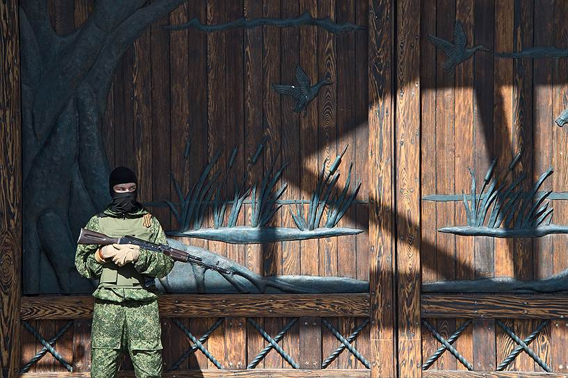 25 мая. Сторонник ДНР у резиденции Рината Ахметова на окраине Донецка