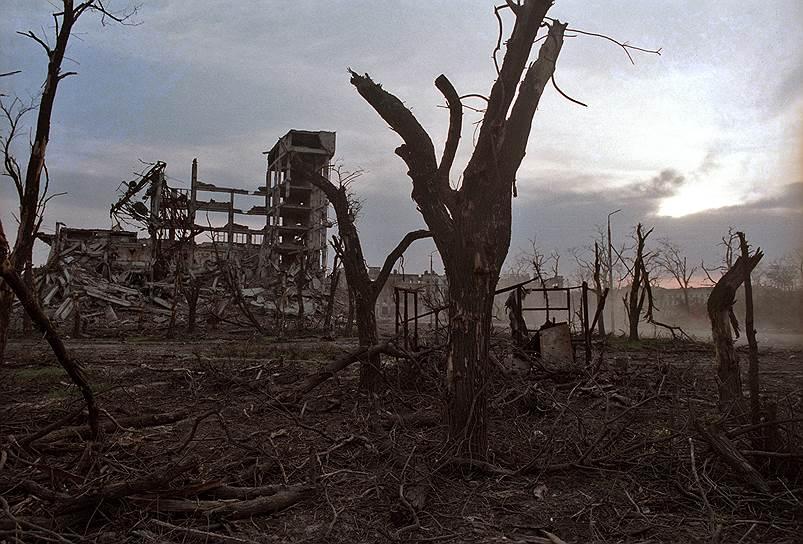 1995 год. Панорама сожженных в ходе массированных бомбежек Грозного деревьев и зданий
