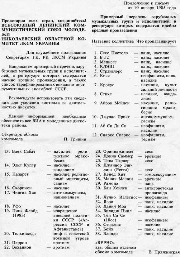 Вредная идеология по версии Николаевского обкома комсомола Украины