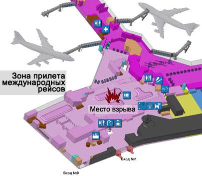 Схема пассажирского терминала аэропорта Домодедово