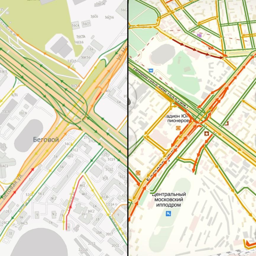 Сравнение ТТК в районе метро «Беговая» по данным на 15:00 мск. Слева показатели приложения «Электронный атлас», справа — «Яндекс.Пробки»