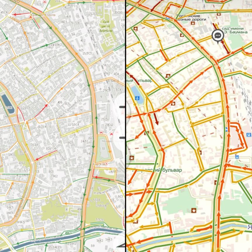 Сравнение ТТК в районе метро «Курская» по данным на 15:00 мск. Слева показатели приложения «Электронный атлас», справа — «Яндекс.Пробки»