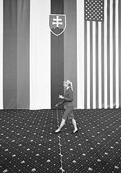 Российско-американский саммит в Братиславе стал возможностью для Словакии встать в один ряд с великими державами (в центре — государственный флаг Словакии) и проявить гостеприимство (на фото: официантка несет чашку кофе)
