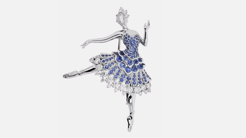 Van Cleef & Arpels, брошь Cardinal Bleu Ballerina, белое золото, сапфиры, бриллианты