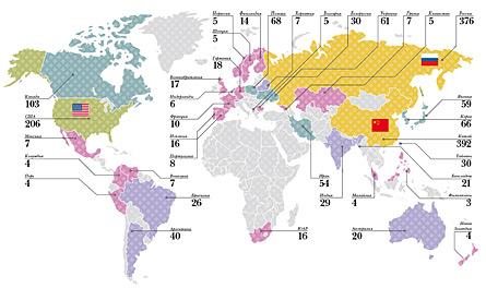 Количество баллов, набранных университетскими командами на студенческих емпионатах мира по программированию за семь лет. Для каждой страны просуммированы все университеты-участники