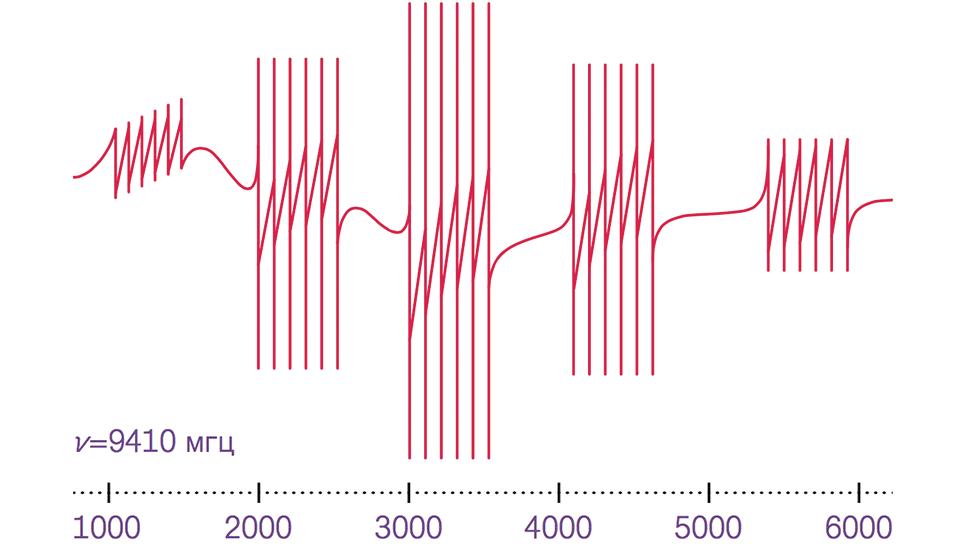 Видны 5 групп линий тонкой структуры, соответствующих спину иона Mn2+ (спин S=2). Каждая группа состоит из 6 линий сверхтонкой структуры, обусловленной взаимодействием с ядерным спином 55Mn I=5/2. В концентрированном парамагнетике такие линии сливаются за счет спин-спиновых взаимодействий.