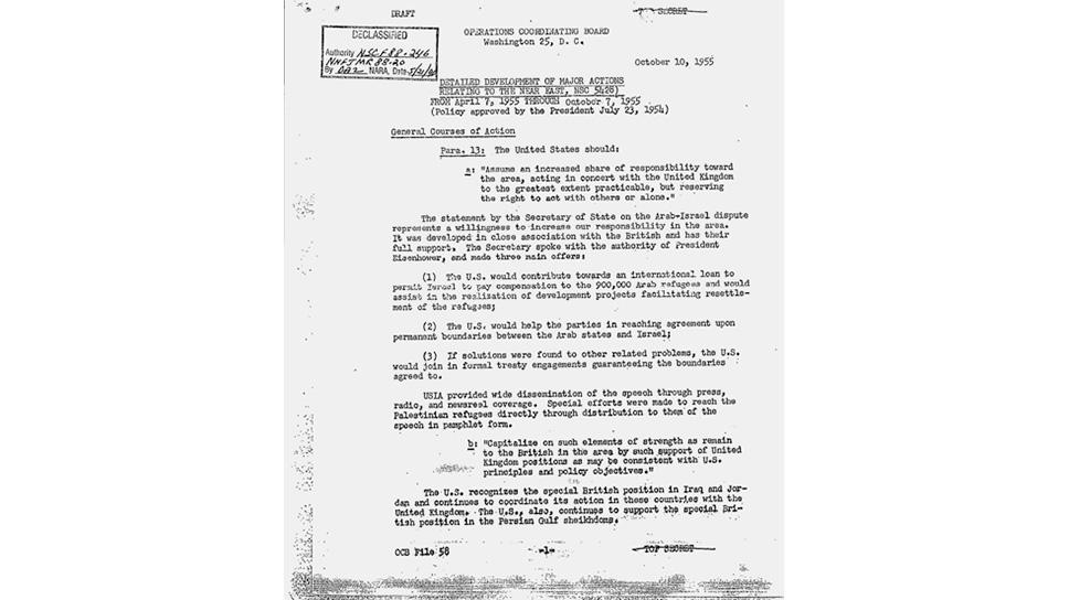 В секретных американских документах особо подчеркивалась важность объединения усилий с Великобританией