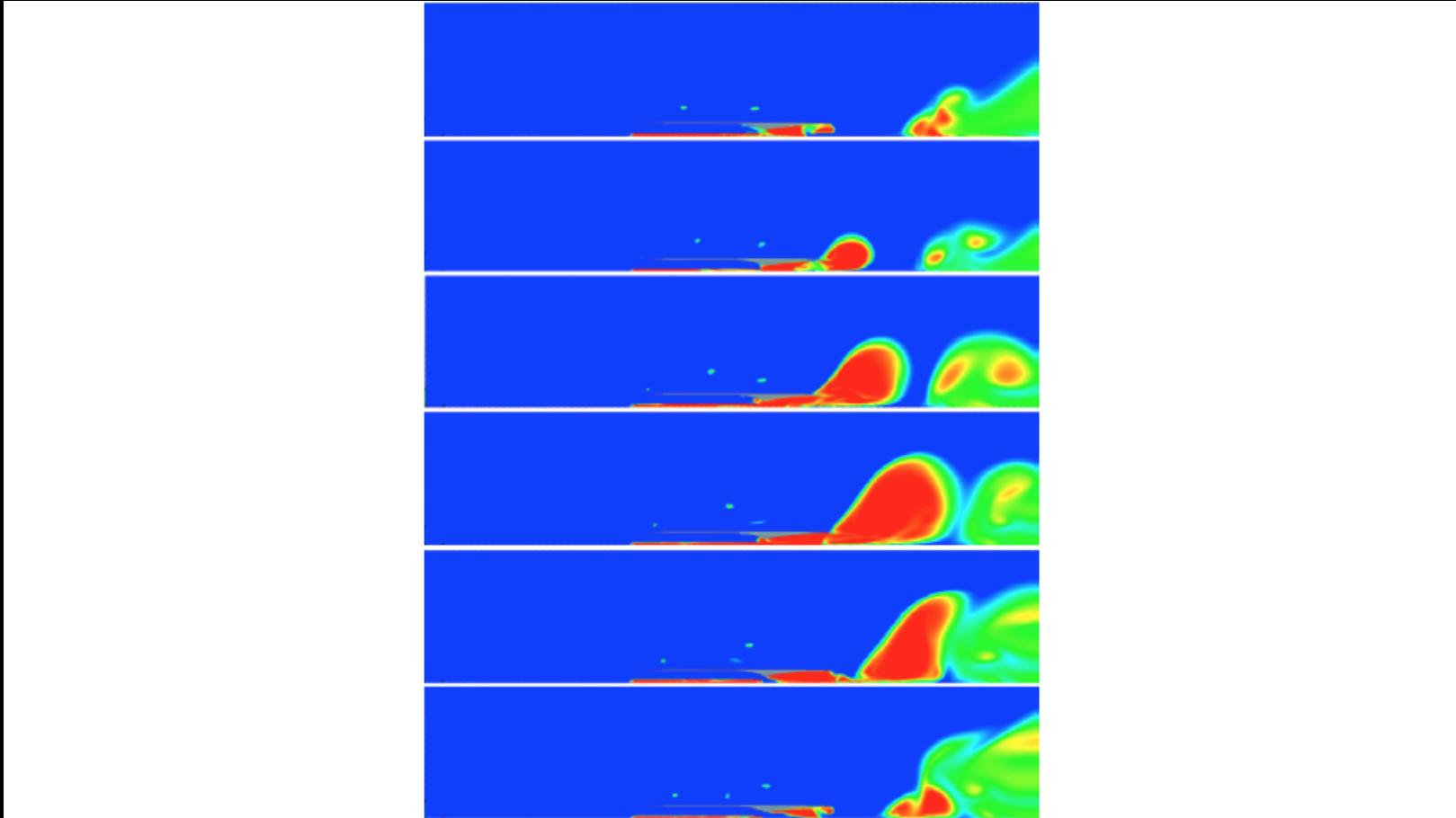 Рис. 2. Рабочий цикл прямоточного импульсно-детонационного гидрореактивного движителя при частоте 10Гц. Красный цвет соответствует газу, синий — воде, а промежуточные цвета — воде с разным объемным газосодержанием. Расчет проведен для половины движителя