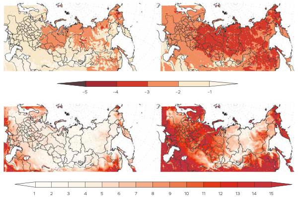 Рис. 2. Изменения длительности волн холода зимой (А, В) и волн тепла летом (Б, Г) в 2050- 2059 гг. (А, Б) и в 2090-2099 гг. (В, Г) по отношению к базовому периоду (1990-1999 гг.), рассчитанные с помощью региональной климатической модели ГГО.