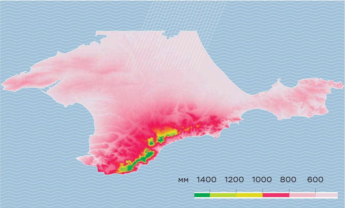 Карта распределения нормы годового количества осадков (в мм) на территории Крымского полуострова