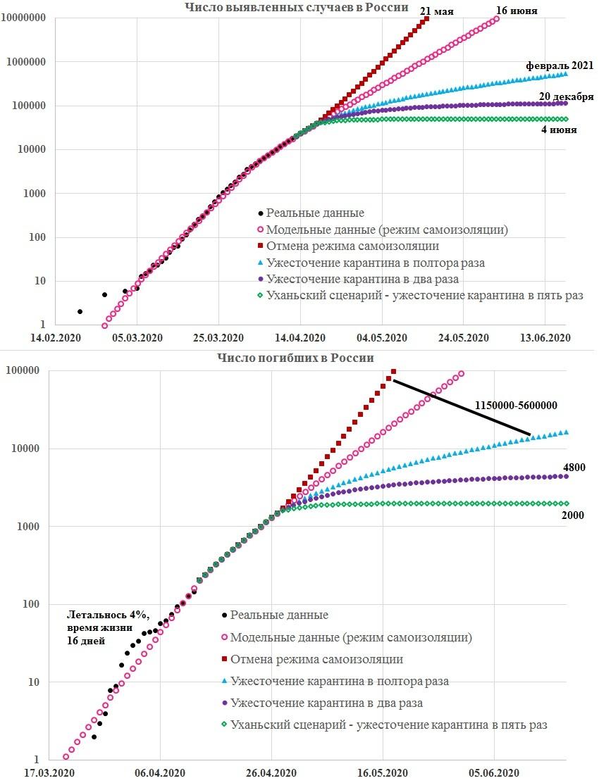 График 4. Временные зависимости общего числа выявленных случаев заражения коронавирусной инфекцией (сверху) и общего числа погибших от нее в России (снизу). Возле кривых показаны оценки дат окончания эпидемии и числа жертв. Параметры модели для режима самоизоляции: t0 = 20 февраля; k0 = 0,41 (K = 2,46) до 27 марта; k1 = 0,285 (K = 1,71) с 28 марта (t1); L = 4%; tL = 16 дней. Для других режимов: t2 = 13 апреля, а k2 = 0,41 (отмена режима самоизоляции), 0,183 (ужесточение в полтора раза), 0,137 (в два раза) или 0,06 (в пять раз)