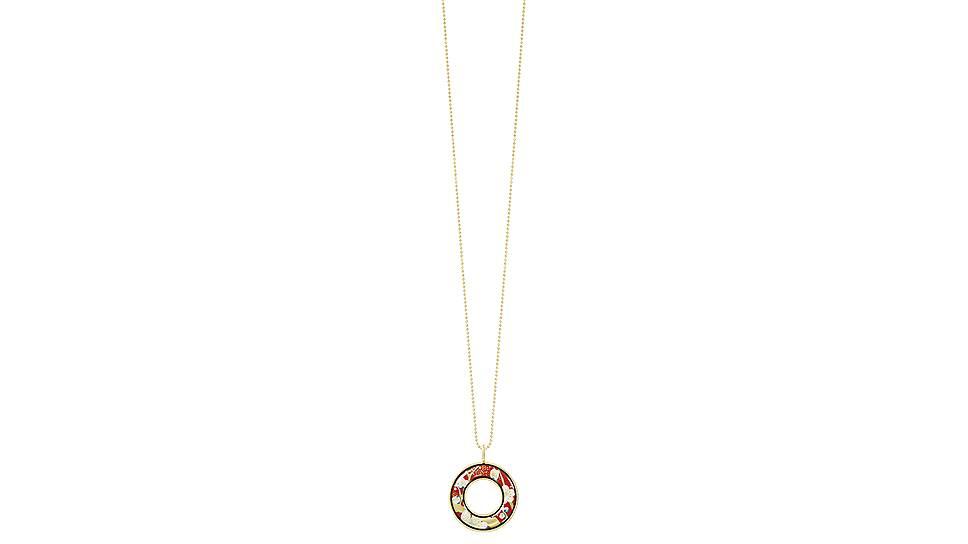 Кулон «Елена» в дизайне «Цветущий миндаль. Бархатный закат» из коллекции «Посвящение Винсенту Ван Гогу» на цепочке «Перлина», ювелирный сплав с напылением из желтого золота, эмаль