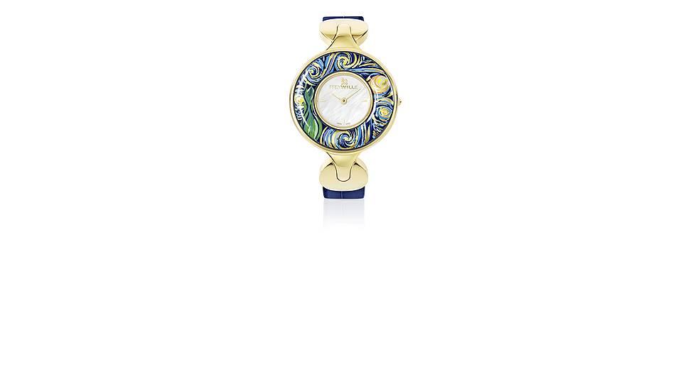 Часы «Елена» в дизайне «Бесконечность» из коллекции «Посвящение Винсенту Ван Гогу», ювелирный сплав с напылением из желтого золота, эмаль