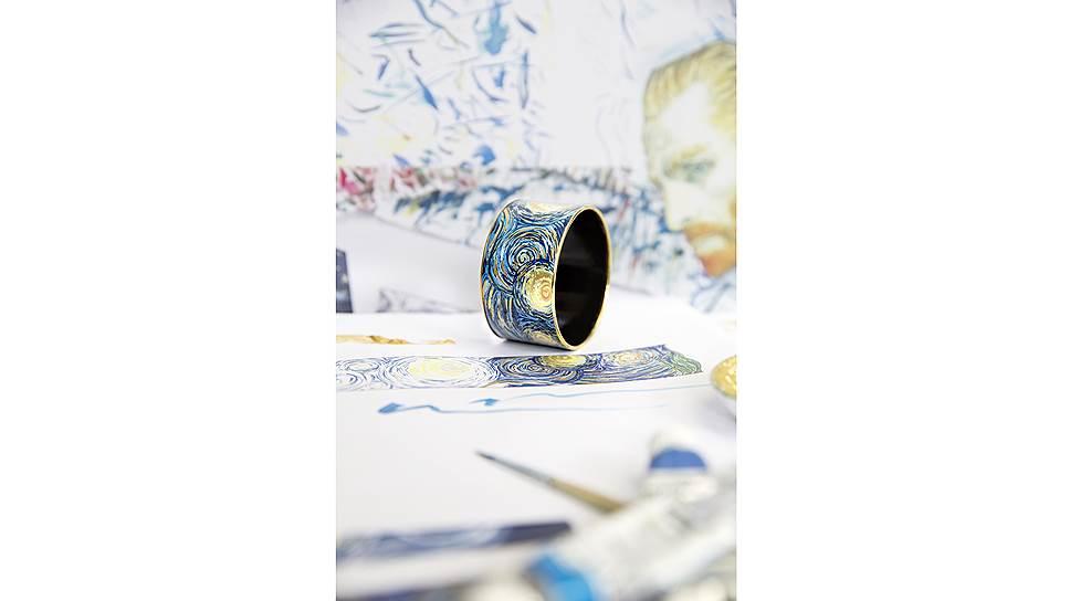 Браслет «Дива» в дизайне «Бесконечность» из коллекции «Посвящение Винсенту Ван Гогу», ювелирный сплав с напылением из желтого золота, эмаль