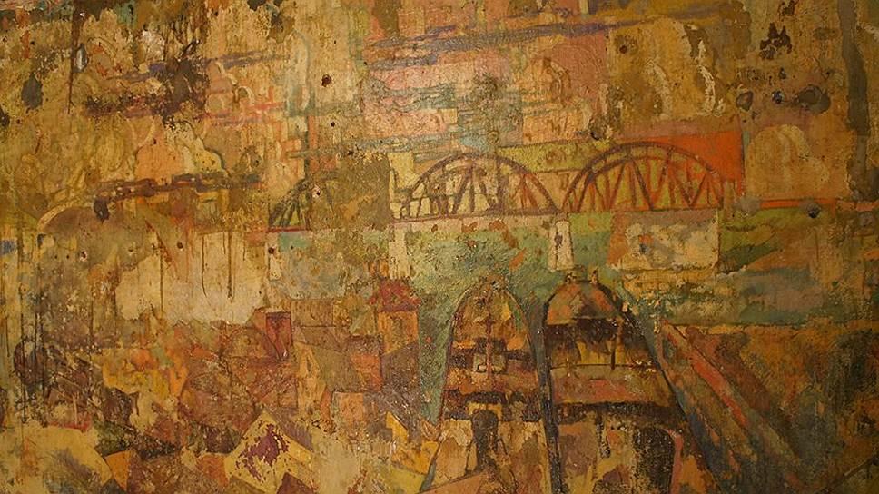 """Фрагмент фрески """"Земо-Авчальская ГЭС"""" в Болшевском доме-коммуне, 1930-1931 годы"""