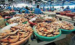 ...и огромных свежих креветок на рыбном рынке