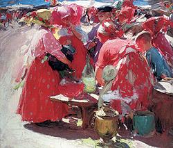 """Абрам Архипов. """"На рынке"""",1919 год. Christie`s эстимейт $280-370 тыс."""