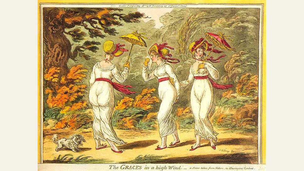 """""""Грации на сильном ветру"""". Карикатура, 1810 год"""