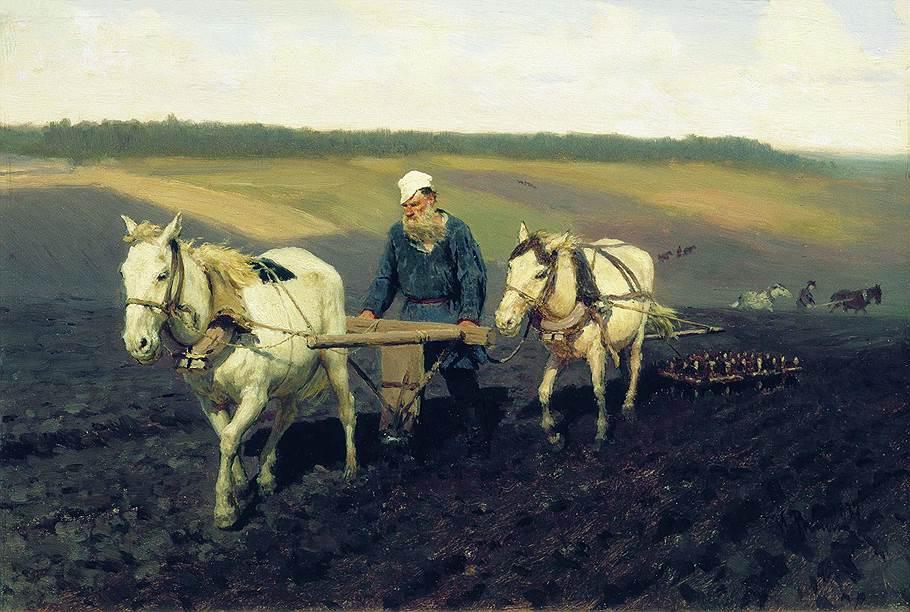 Илья Репин. «Пахарь. Лев Николаевич Толстой на пашне», 1887год