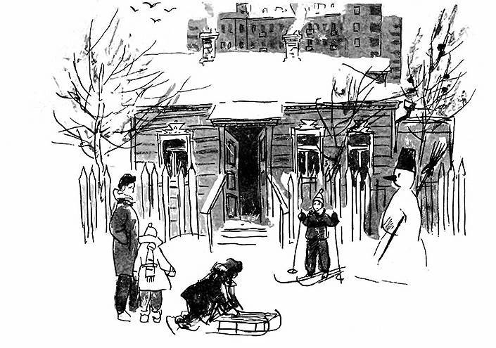 Адриан Ермолаев. Иллюстрация к книге Самуила Маршака «Круглыи год», 1966 год