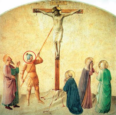 """Фра Беато Анджелико (1395-1455). """"Распятие"""". Фреска в келье монастыря Сан-Марко, Флоренция"""