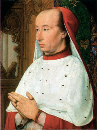 "Мастер из Мулена (XV век). ""Портрет кардинала Карла II Бурбона"". Мюнхен, Старая Пинакотека"