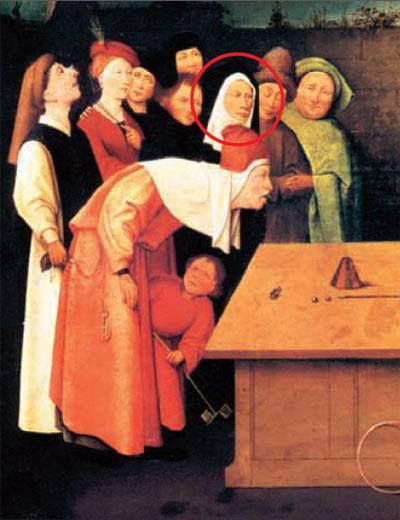 """Иероним Босх (1453-1516). """"Фокусник"""" (фрагмент). Сен-Жермен-ан-Ле (Франция), Муниципальный музей"""