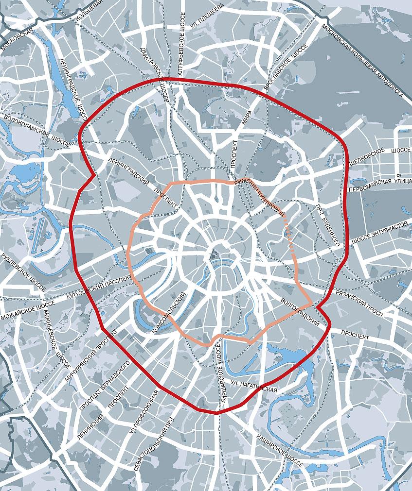 Рисунок 1: сегодняшний проект Четвёртого кольца.  Кольцо несимметрично, сильно выступает к северу...