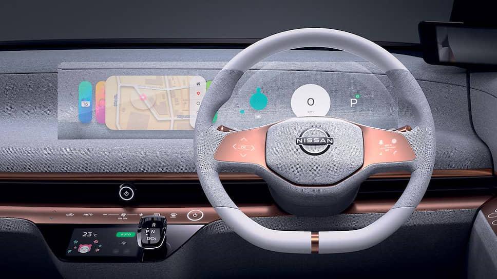 Приборная панель Nissan IMk прозрачная, поэтому картинка на ней иногда кажется голограммой – вполне в духе «бесшовной автономной мобильности», которую предлагает система Invisible-to-Visible, способная показывать в режиме «дополненной реальности» картинку на 360 градусов вокруг автомобиля.