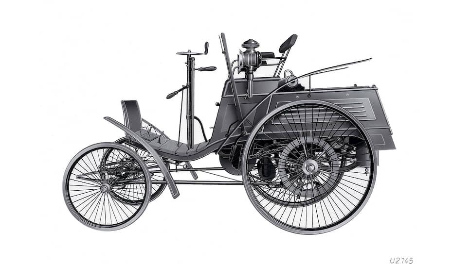 Benz Velo выпускался с 1894 по 1901 год и был самой массовой моделью того времени. Управлялся автомобиль рукояткой, как у кофемолки, а тормозил с помощью рычага, прижимавшего тормозную колодку к «сплошной» или «массивной» шине.