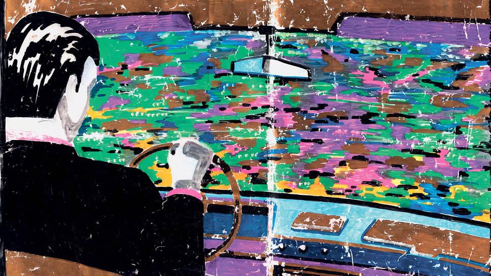 Виктор Цой. «Дорога», 1989. Пластиковый пакет, смешанная техника. 39 х 53 см
