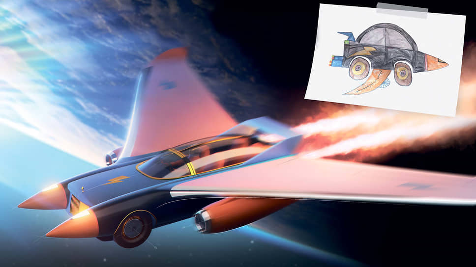 Машина-Молния. Специальный приз жюри получил Деклан, 10 лет, Соединенное Королевство, за реактивный автомобиль Rolls-Royce Bolt. Сохраняя традиционный автомобильный вид, он заимствует конструктивные черты у самолетов и ракет, что необходимо для межгалактических путешествий во Вселенной.