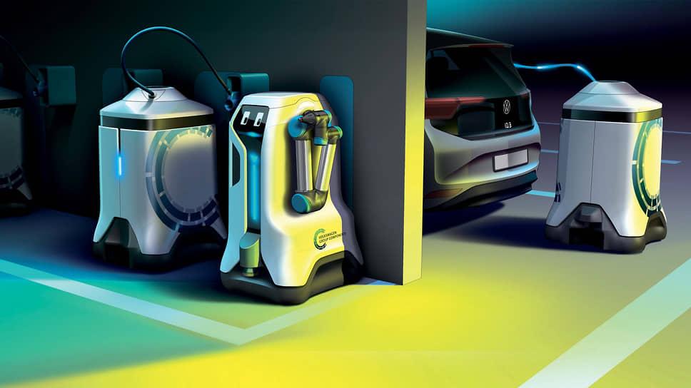 По предварительной информации, емкость одного аккумуляторного блока составляет 25 кВт•ч. Зарядка осуществляется посредством постоянного тока, пиковое значение которого достигает 50 кВт. При этом робот-заправщик от Volkswagen способен нести «на борту» сразу несколько аккумуляторных блоков.