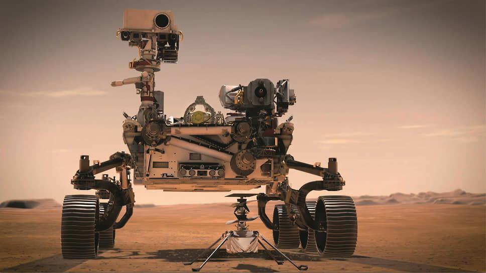 Дрон Ingenuity массой 1,8 кг оснащен только камерами. Основная его задача – проверить возможность полета в разряженной атмосфере Марса. Поэтому его двойной соосный винт имеет широкие лопасти и очень высокую скорость вращения. Источник энергии – солнечная батарея.