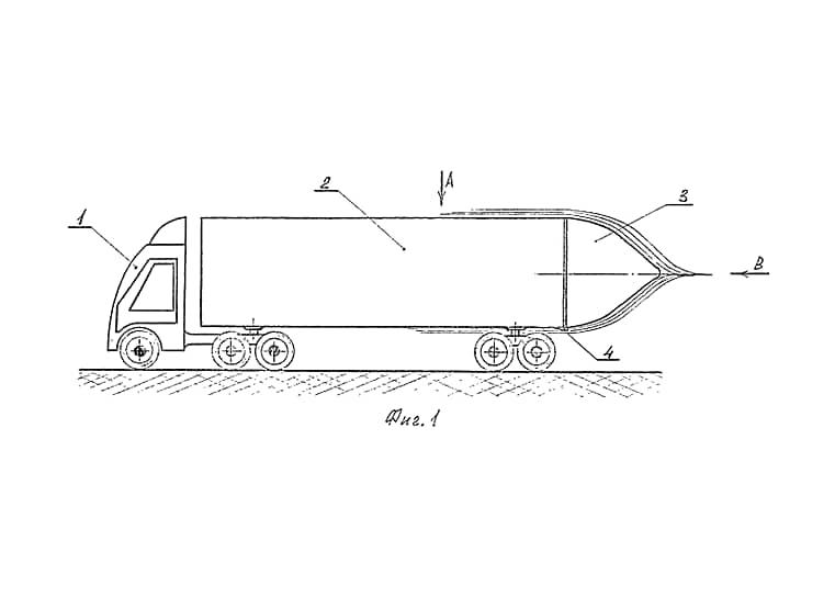 Самой безупречной с точки зрения аэродинамики формой считается капля. С помощью такой вот нахлобучки на заднюю часть фуры автор изобретения предлагала сделать грузовик более экономичным.