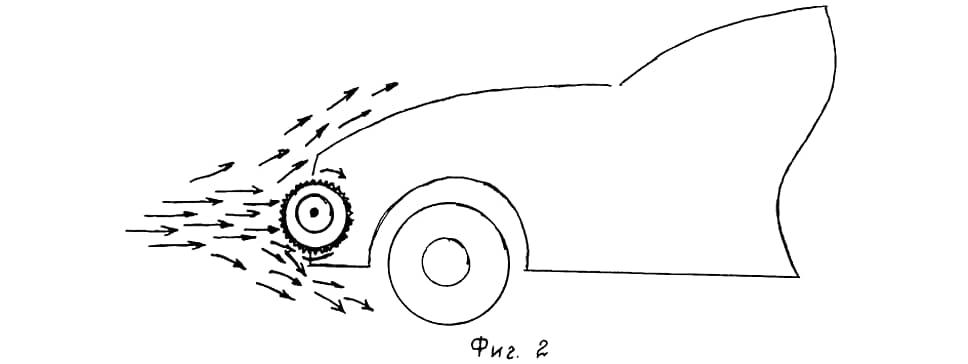 Вот эту вращающуюся в передней части автомобиля катушку ее изобретатель Мухамадиев Рахматулло Шарифович назвал в честь себя «рахматоном». Катушка не только улучшает аэродинамику, но и крутит генератор для выработки электричества.
