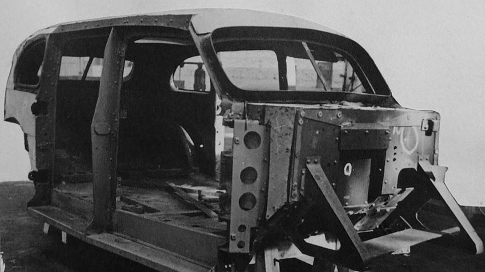 Каркас бронекорпуса ЗИС-110С – в роли силового элемента кузова выступали бронелисты. Заклепки применялись с пулестойкими головками