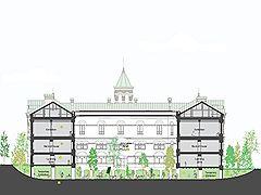 Разрез Политехнического музея с парком под ним по проекту Ишигами