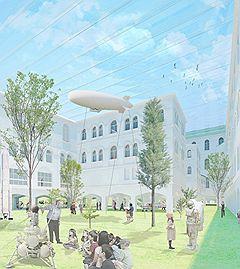 Покрытие внутреннего двора из пленок ETFE по проекту Ишигами