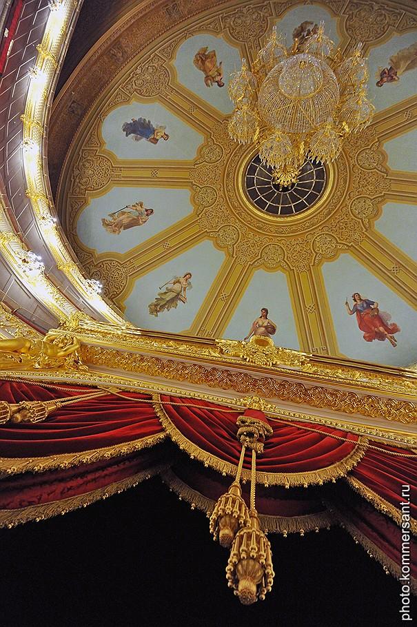Вид на потолок в зрительном зале