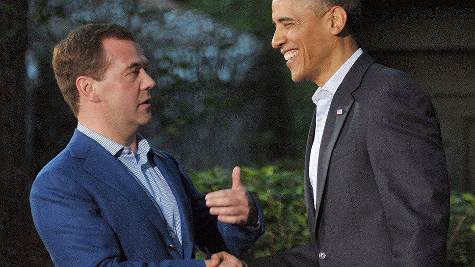Премьер-министр России Дмитрий Медведев (слева) и президент США Барак Обама