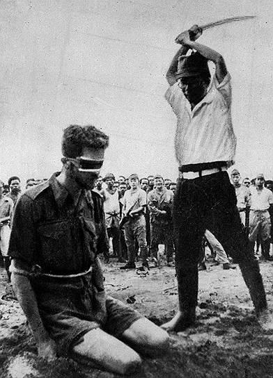1945 год. Казнь солдата союзных войск во время Второй мировой войны японским солдатом. На сегодняшний день в Японии существует смертная казнь через повешение, однако применяется ли она на самом деле, неизвестно