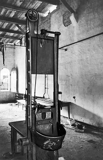 Еще одним распространенным способом казни была казнь на гильотине. Впервые широко ее начали использовать в конце XVIII века во Франции. Ее аналоги также широко использовались в Шотландии и Ирландии