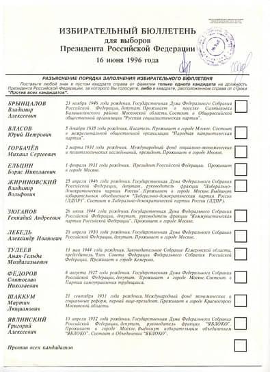 В избирательном бюллетене также были: офтальмолог Святослав Федоров (0,9% голосов), бывший президент СССР Михаил Горбачев (0,5%), глава Международного фонда экономических и социальных реформ Мартин Шаккум (0,4%), бывший спортсмен и депутат Юрий Власов (0,2%) и предприниматель Владимир Брынцалов (0,2%). Политик Аман Тулеев в последний момент снялся с выборов в пользу Геннадия Зюганова