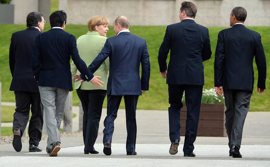 Журнал Forbes неоднократно признавал Ангелу Меркель самой влиятельной женщиной в мире<br>На фото слева направо: канцлер Германии Ангела Меркель, президент России Владимир Путин, бывший премьер-министр Великобритании Дэвид Кэмерон и экс-президент США Барак Обама