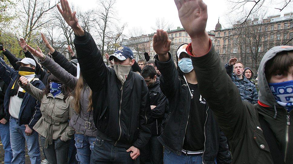 Митинг и шествие в рамках акции «Русский марш» провела партия «Славянский союз» в саду Чернышевского, 2008 год
