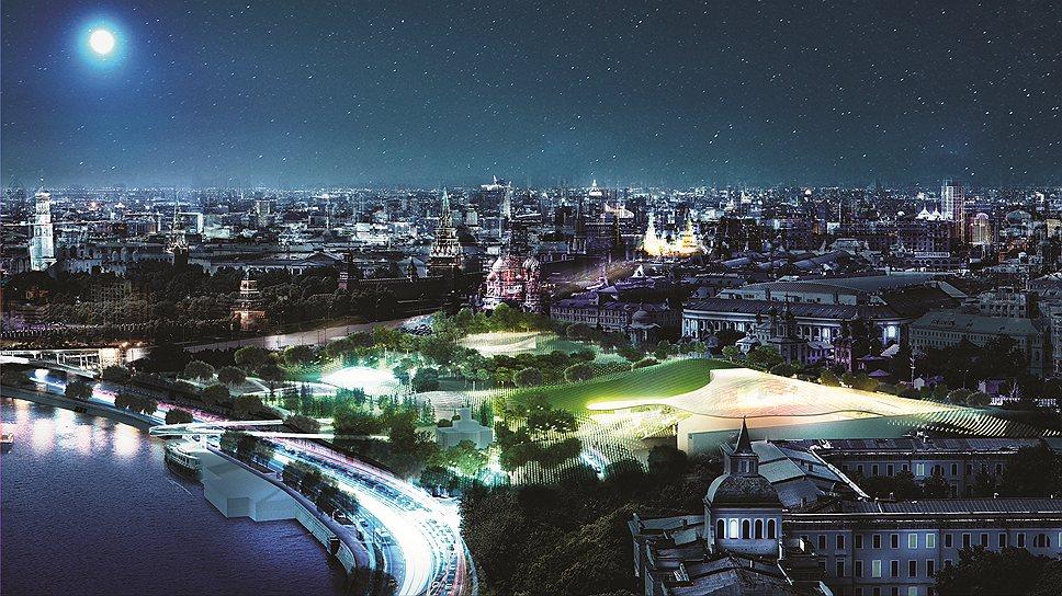 Ночная панорама будущего парка «Зарядье» по проекту команды во главе с бюро Diller Scofidio + Renfo